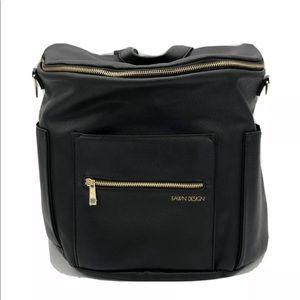 Handbags - Fawn Design Diaper Bag. Black Vegan Leather
